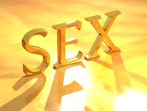 Sex. 3d SEX on gold background Stock Photos