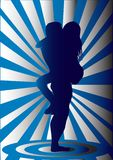 Sex. Erotic silhouette on blue-white background Royalty Free Stock Photography