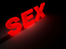 Sex. Word SEX glowing a vibrant red - rendered in 3d Royalty Free Stock Photos