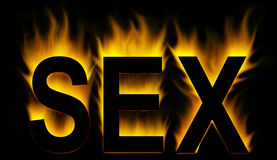 Sex. Word with abstract fire royalty free illustration