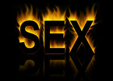 Sex. Word with abstract fire background vector illustration