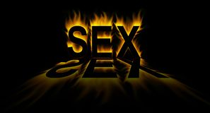 Sex. Word in abstract fire background stock illustration
