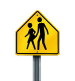 Sex Abuse In Schools. Sex abuse in school with a warning sign of a sexual predator abusing and attacking young innocent student victims represented by a yellow royalty free illustration