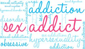 Sex Addict Word Cloud. On a white background Royalty Free Stock Image