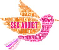 Sex Addict Word Cloud. On a white background Stock Photography