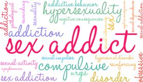 Sex Addict Word Cloud. On a white background Royalty Free Stock Images