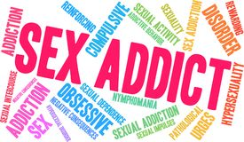 Sex Addict Word Cloud. On a white background Stock Image