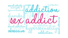 Sex Addict Word Cloud. On a white background royalty free illustration