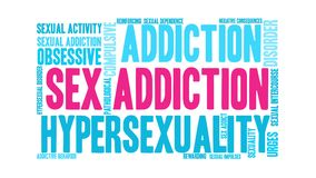 Sex Addiction Word Cloud. On a white background vector illustration