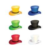 Sex bästa hatt för färger stock illustrationer