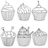 Sex bilder av muffin i svartvitt som dras av handen Stock Illustrationer