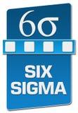 Sex blåa jobbkortlodlinje för Sigma vektor illustrationer