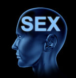 Sex on the brain. Represented by a human head with the sexuality word symbol Stock Photos