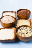 Sex bunkar med olika variationer av ris Arkivfoton