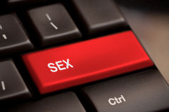 Sex button on keyboard. With soft focus stock photo