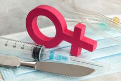 Free Sex-change Operation. Change Of Female To Male. Symbol Of A Woman And A Scalpel With A Syringe. Surgical Instruments Stock Image - 184924101