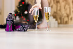 Sex after a Christmas party, quick sex concept. royalty free stock photo