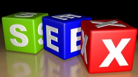 SEX Colored cubes. Three colored cube with the word SEX Stock Images