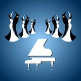 Sex dansa par och flygel i balsal vektor illustrationer