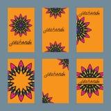 Sex design av flayer för mehndi och kortet med prydnaden Arkivfoto