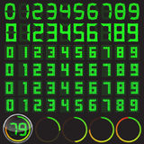 Sex digitala nummer ställde in i olika stilar och grundläggande klockakropp Arkivbild