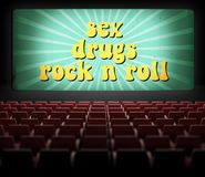 Sex, drugs and rock n roll movie screen Stock Image