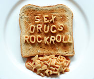 Sex drugs rock roll toast Stock Image