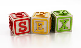 Sex education. Concept with wooden cubes stock illustration