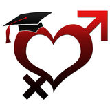 Sex Education - Hat on Heart Shape Stock Photography