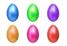 Sex färg av easter ägg som isoleras på vit bakgrund Royaltyfria Bilder