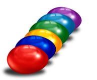 Sex färgeaster ägg i rad Arkivbild