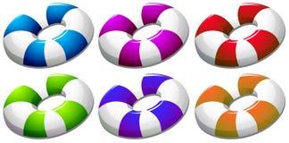Sex färgglade boj royaltyfri illustrationer