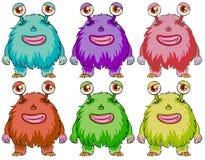 Sex färgglade monster Royaltyfri Bild