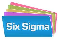 Sex färgrika fyrkantbunt för Sigma stock illustrationer