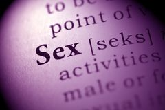 Sex. Fake Dictionary, Dictionary definition of the word Sex Royalty Free Stock Photos