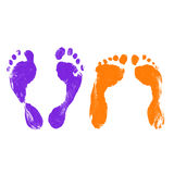 After Sex Footprints. Prints of Human Feet of Two People Laying Down Stock Photography