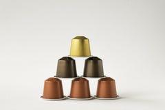 Sex fröskidor för kaffemaskin Arkivfoton