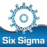 Sex fyrkant för prickigt kugghjul för Sigma blåa stock illustrationer