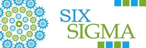 Sex gröna blåa cirkulär för Sigma utrustar horisontal stock illustrationer