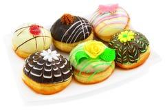 Sex härliga donuts Royaltyfri Fotografi