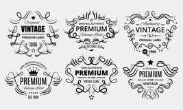 Sex högvärdiga tappningetiketter vektor illustrationer