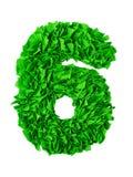 sex Handgjort nummer 6 från gröna rester av papper Royaltyfri Fotografi