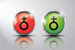 Sex icon with glossy buttons. On white background stock illustration