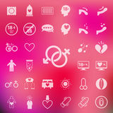 Sex icon set on blur pink background.vector/eps10. Sex icon set on blur pink background.vector/eps10 Royalty Free Stock Image