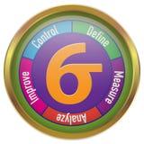 Sex illustration för Sigma DMAIC i cirkel med den guld- ramen royaltyfri illustrationer