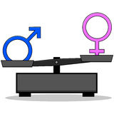 Sex inequality. Concept illustration showing an old-style scale unbalanced with the male and female signs on opposite ends Stock Images
