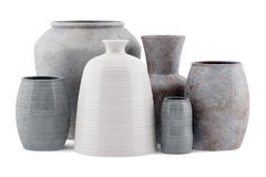 Sex keramiska vaser som isoleras på vit Fotografering för Bildbyråer