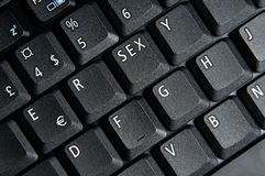 The sex key. Laptop keyboard with sex button Royalty Free Stock Photo