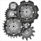 Sex kugghjul i rörelse Arkivfoton
