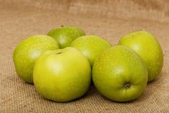 Sex lilla gröna äpple Arkivbild